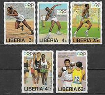LIBERIA  1984  GIOCHI OLIMPICI  YVERT  992-996  MNH  XF - Liberia