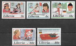 LIBERIA  1987  GIOCHI OLIMPICI INVERNALI   YVERT 1038-1042  MNH   XF - Liberia