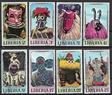 LIBERIA 1971 MASCHERE AFRICANE YVERT. 512-519 USATA VF - Liberia