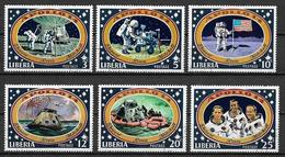 LIBERIA 1971APOLLO 14 DIVERSE FASI DEL VOLO SULLA LUNA YVERT. 520-525 USATA VF - Liberia