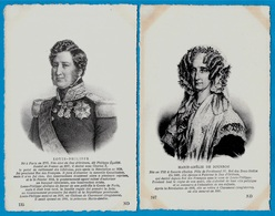CPA (Lot De 2) Couple Royal : LOUIS-PHILIPPE & MARIE-AMELIE De BOURBON * Royauté Histoire - Königshäuser
