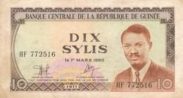Billet De Banque  République De Guinée  10 Sylis - Guinea
