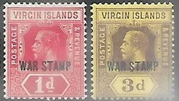 Virgin Islands 1916   Sc#MR1-2  War Tax Set  MH   2016 Scott Value $5.05 - Iles Vièrges Britanniques