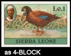 SIERRA LEONE 1980 Birds Hartlaub's Duck Le1 Imp.1982 Wmk CA IMPERF.4-BLOCK - Sierra Leone (1961-...)