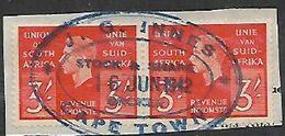 South Africa, GVIR, 1938, 3/= Revenue, Pair, J.G. INNES CAPE TOWN STOCK 7 SHARE BROKER  16 JUN 1942 - Zuid-Afrika (...-1961)