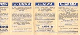 Ciné Cinema Pub Reclame Programma Bioscoop Metropole - Normandie - Lido - Nord - Agora - Astrid Eeklo Gent Ledeberg 1954 - Publicité Cinématographique