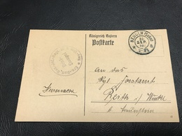 Correspondance Militaire - Feldpostkarte Sept. 1918 - Ersatz Bataillon Reserve Infanterie Regiment 12 4. Komp. Neu-Ulm - Military Service Stampless