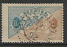Sweden,1874, 1 Kr, Blue & Bistre, Perf 13, Used - Service