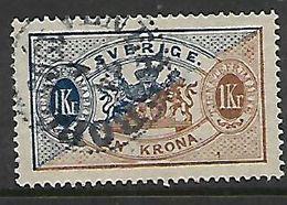 Sweden,1896, 1 Kr, Dark Blue & Bistre, Perf 13, Used - Service