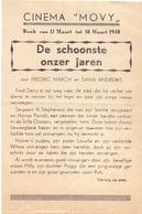 Ciné Cinema Bioscoop Programma Cinema Movy - De Schoonste Onzer Jaren - 1948 - Publicité Cinématographique