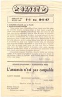 Ciné Cinema Bioscoop Pub Reclame Programma Savoy Gent - Capitole - Select - 1947 - Publicité Cinématographique