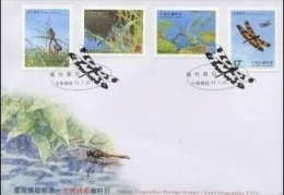 FDC Taiwan 2003 Pond Dragonflies Stamps Dragonfly Fauna Lotus Insect - 1945-... Republic Of China