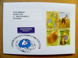 Cover Brazil 2014 Map Flag Agriculture Golden Gold Fragment On Stamp - Brazil