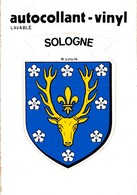 Sologne - Autocollant-Vinyl Lavable - Cimsticks - Blason Tête De Cerf - R. Louis - France