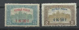 HUNGRIA   YVERT   AEREO 1/2  MH  * - Airmail