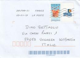 Francia  2018- Busta X L'Italia Affrancata Con 1 Stamp+vignetta - France