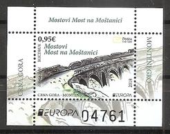 MONTENEGRO 2018,EUROPA CEPT,BRIDGES,BLOCK,MNH - Montenegro