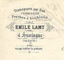 Facture 1878 / 68 HUNINGUE / E. LAMY / Transports Par Eau / Perches à Houblons - France