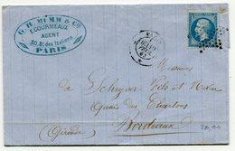 PARIS LAC Du 10/02/1863 Avec N°22 Oblitéré Etoile Pleine - 1849-1876: Periodo Clásico