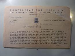 """Documento """"CONFEDERAZIONE FASCISTA DEI PROFESSIONISTI E DEGLI ARTISTI ISCRIZIONE ALBO AVVOCATO"""" Salerno 11 Novembre 1941 - Ex-libris"""