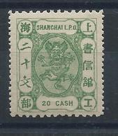 1885! SHANGHAI SMALL DRAGON 20 CASH GREEN MINT OG H -CHAN LS98 Cv $20 - Chine