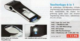 Mikroskop 55x Lupe 10x UV-Licht Kompakt Neu 12€ Zum Prüfen Briefmarken Münzen Paper Money LEUCHTTURM Offer In Black Bags - Matériel