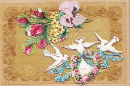 Cpfete 272 T.B Carte Celluloïd JOYEUX ANNIVERSAIRE Découpi Chromo + Ruban Tissus 1910s De ST-PIERRE-LA-VIEILLE Calvados - Anniversaire