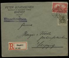 S2888 DR Germania Infla MiF R - Firmen Briefumschlag , Bovenschen: Gebraucht Rheydt - Leipzig 1921 , Bedarfserhaltung. - Lettres & Documents