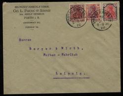 S2875 DR Germania Infla MiF Firmen Briefumschlag Fuchs: Gebraucht Fürth - Leipzig 1922 , Bedarfserhaltung. - Lettres & Documents