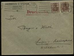 S2871 DR Germania Paar Infla MeF Firmen Briefumschlag Stark: Gebraucht Hamburg - Leipzig 1921 , Bedarfserhaltung. - Lettres & Documents