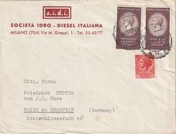 ITALIE  1957 LETTRE DE MILANO - 6. 1946-.. Republik