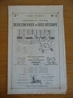 Plan PEUGEOT - Comment Faire... N° 4  - Comment Faire DEUX CHEVAUX EN BOIS DECOUPE - Publicité