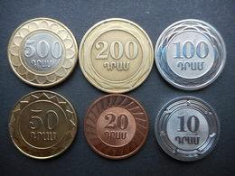 Armenia 10,20,50,100,200,500 Dram 2003-2004 (Lot Of 6 Coins) - Arménie