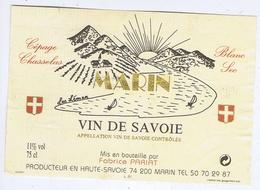 ETIQUETTE - VIN DE SAVOIE - MARIN - Chasselas - Fabrice PARIAT - Blancs