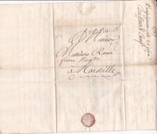 Ancienne Lettre 1767 Griffe Manuscrite 12 A Marseille Marque Lineaire Perpignan - Storia Postale