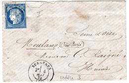 Lettre Surgères 1873 Charente Maritime Meulan Yvelines Cérès 25 Centimes Cachet Paris à Caen - 1871-1875 Ceres