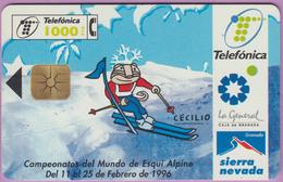 Télécarte Espagne °° Campoenatos Ski Alpin 1996  - 1000 Ptas - Gem -1996.01. - Espagne