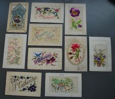 Lot De 10 Belles Cartes Brodées - Bonne Fête - Ste-Catherine - Joyeux Noël - 1910-1915 ! - Brodées