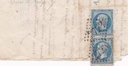 Lot Sur Moreaux De Lettre 20 C Napoleon Bleu Dentelé Oloron Ste Marie Belle Grille - Marcophilie (Lettres)