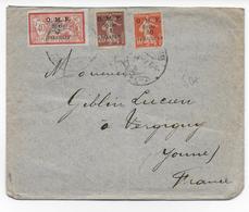 LIBAN - 1921 - TIMBRES MERSON + SEMEUSE De SYRIE Sur LETTRE De BEYROUTH => VERGIGNY - Liban