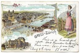Gruss Aus Zurich Grassmünster Mit Alpen & See Theatre – Postmark 1900 - Greetings From...