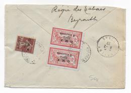 LIBAN - 1922 - TIMBRES MERSON + SEMEUSE De SYRIE Sur LETTRE RECOMMANDEE De BEYROUTH => VERGIGNY - Liban