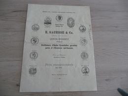 Tarif Prix 1889 Mai E.Sachsse Distillateurs Huiles Essences Absinthe Médailles 4 Pages - Allemagne