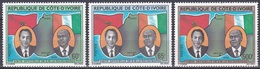 Elfenbeinküste Ivory Coast Cote D'Ivoire 1979 Persönlichkeiten Königshäuser Royals König Hassan II. King, Mi. 577-9 ** - Côte D'Ivoire (1960-...)