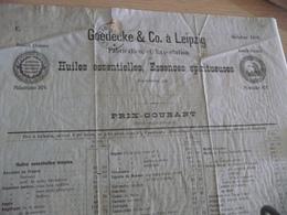 Tarif Prix 1888 Goedecke Leipzig  Distillateurs Huiles Essences Absinthe Médailles 4 Pages - Allemagne