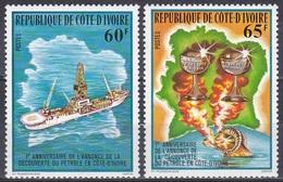 Elfenbeinküste Ivory Coast Cote D'Ivoire 1978 Bodenschätze Mineral Resources Erdöl Oil Schiffe Ships, Mi. 568-9 ** - Costa De Marfil (1960-...)
