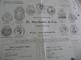 Tarif Prix 1885 E.Sachsse Leipzig Reudnitz   Distillateurs Huiles Essences Absinthe Médailles En L'état - Allemagne