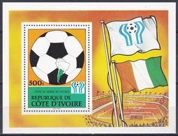 Elfenbeinküste Ivory Coast Cote D'Ivoire 1978 Sport Spiele Fußball Football Soccer WM FIFA Argentinien, Bl. 12 ** - Côte D'Ivoire (1960-...)