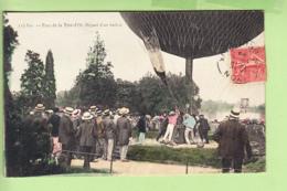 LYON - Départ D'un Ballon Parc De La Tête D' OR - Superbe Plan Animé Colorisé - Montgolfière - Peu Courant - 2 Scans - Lyon
