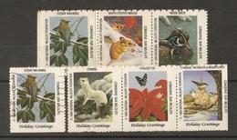 USA 1989 - National Wildlife Federation - Petit Lot De 7 Vignettes - Wood Duck - Cedar Waxwing - Ermine - Woodpecker - Erinnophilie